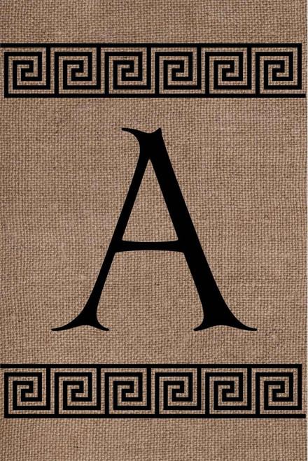 Burlap Greek Key Monogram A Double Sided 12 x 18 Inch Garden Flag Custom Decor