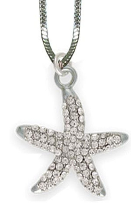 Austrian Crystal Silver French Starfish Necklace