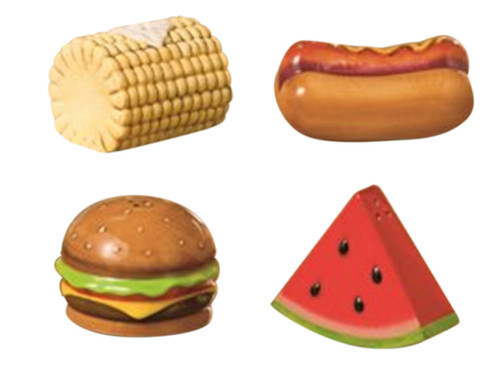 Backyard BBQ Corn Cob Watermelon Hot Dog Cheeseburger Salt and Pepper Shakers