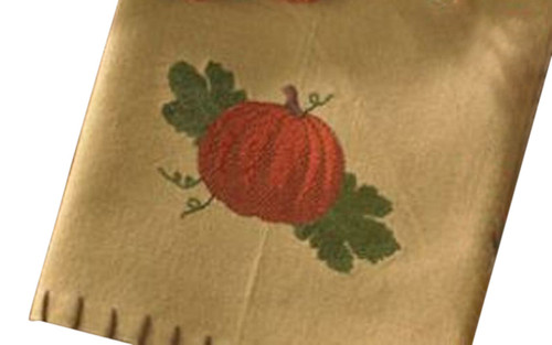 Autumn Harvest Pumpkin Embroidered Kitchen Cotton Dish Towel