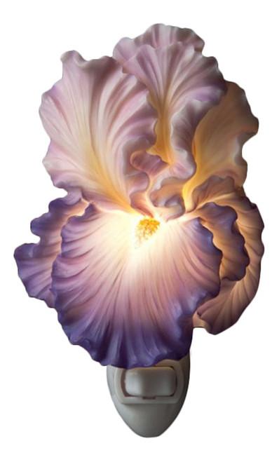 Purple Bearded Iris Floral Night Light Bonded Marble