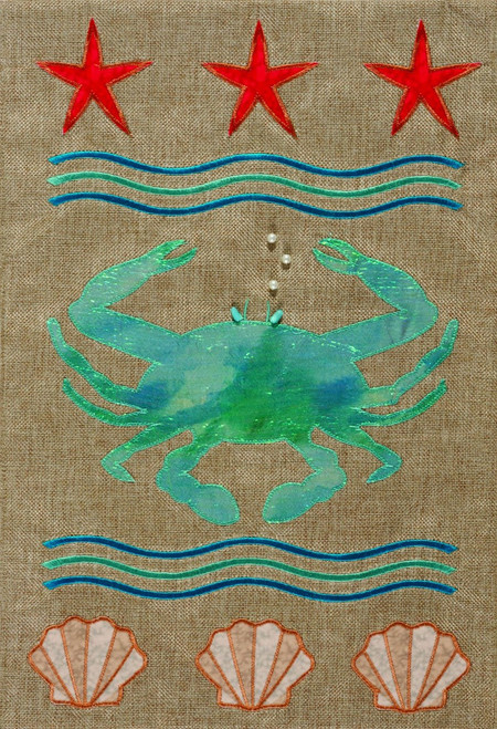 Blue Crab and Shells Burlap Fabric 12 x 18 Double Sided Appliqued Garden Flag