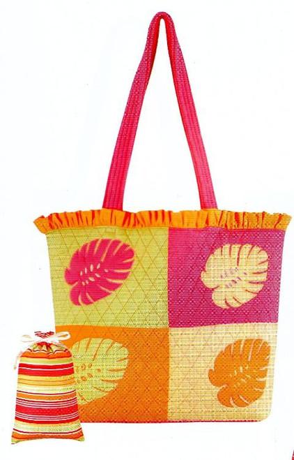 Tropical Palm Leaf Pink Beach Tote Bag Set