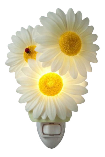 Ladybug and Daisies Flower Floral Hand Painted Night Light
