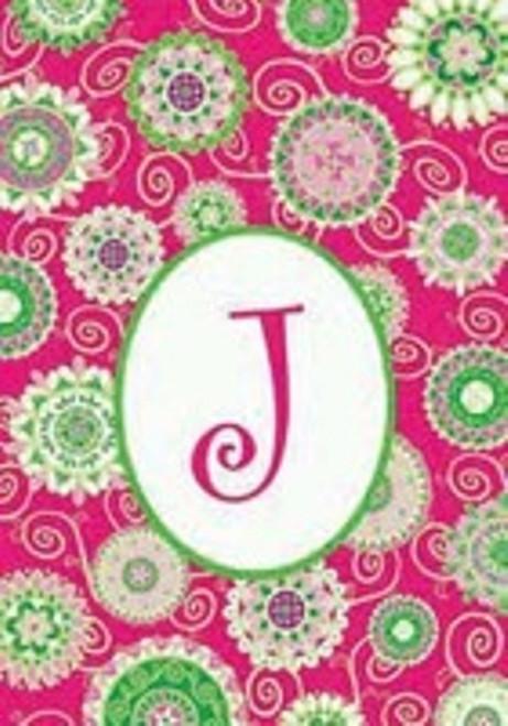 Beautiful Fashion Double Sided Monogrammed J Garden Flag