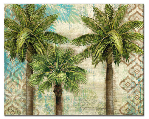 Aqua Escape Pretty Palm Trees Glass 15 Inch Cutting Board
