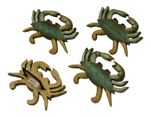 Blue Crab Carved Wood Napkin Rings Set of 4 Kitchen Dining Room Table Setting