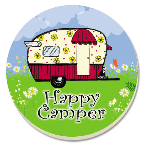 Happy Camper 4 Inch Round Absorbent Stone Coasters Set of 4