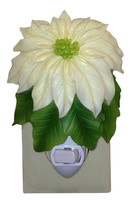 White Poinsettia Christmas Holiday Night Light Ibis and Orchid