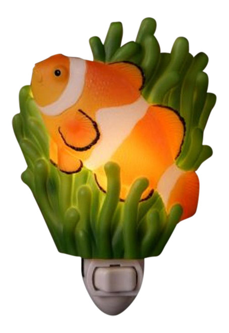 Tropical Ocean Reef Clown Fish Hand Painted Night Light Ibis and Orchid