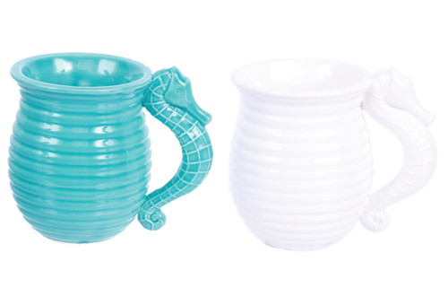 Blue and White Seahorse Handle Mugs 16 Ounces Set of 2 Embossed Ceramic