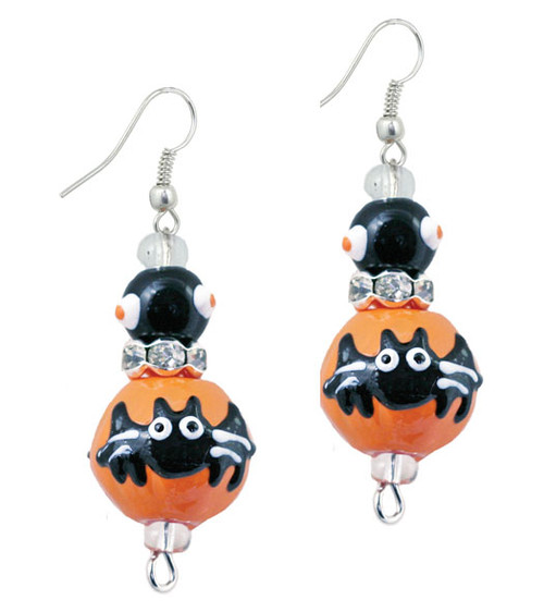 Gone Batty Happy Halloween Rhinestone Glass Beaded Kate and Macy Earrings