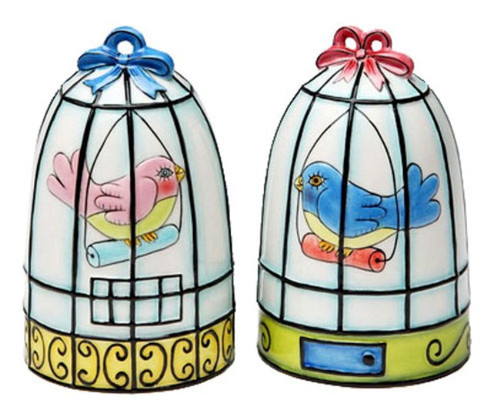 Bird Birdcage Salt and Pepper Shakers Set
