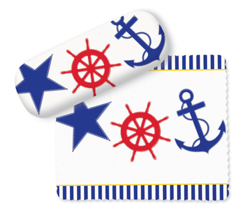 Sailor Red White and Blue Ship Wheel and Anchor Eye Glasses Case and Lens Cloth