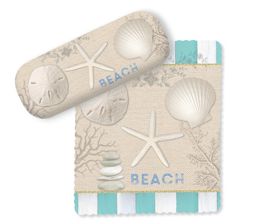 Teal and White Stripes and Shells Beach House Eye Glasses Case and Lens Cloth