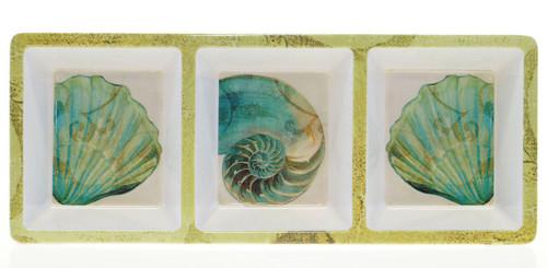 La Mer Coastal Shells 3 Section Condiment Dip Snack Serving Tray