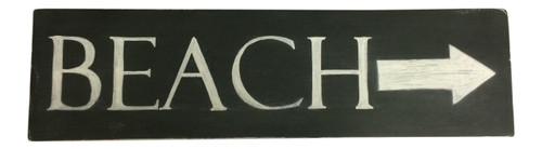 Beach Arrow Hand Painted Chalk 20 Inch Black Wood Wall Decor Sign