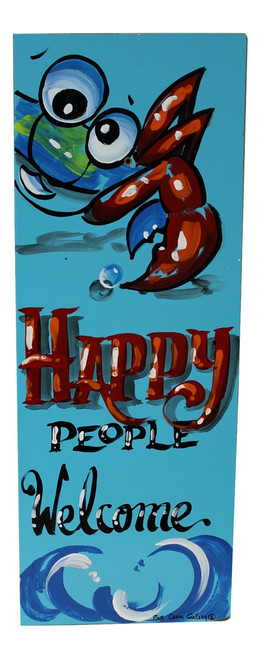 Blue Crab Happy People Welcome Hand Painted Wood Wall Sign 24 Inches