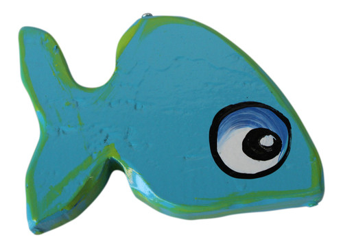 Blue Fish Hanging Decor Hand Painted Wood 6.5 Inches