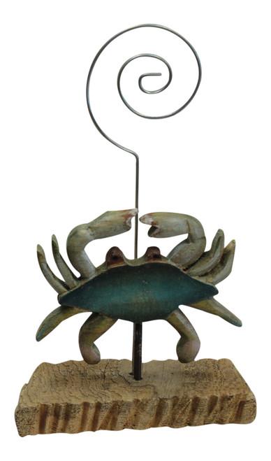 Carved Blue Crab on Natural Wood Desktop Photo or Recipe Card Holder