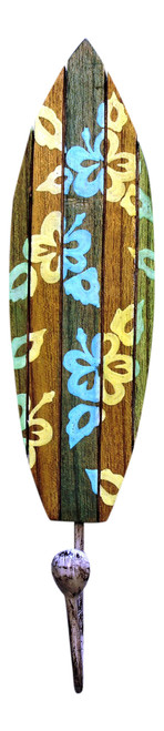 Carved Wood Surfboard with Painted Tropical Hibiscus Single Wall Hook 13 Inches