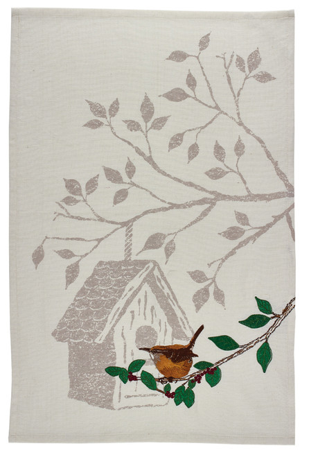 Backyard Wren and Birdhouse Embroidered Kitchen Dish Towel