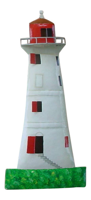 Coastal White and Red Lighthouse Handpainted 18 Inch Haitian Metal Wall Art