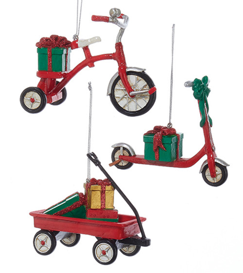 Childs Toys Red Tricycle Scooter and Wagon Christmas Holiday Ornaments Set of 3