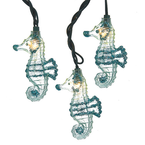 Coastal Seahorses With Glitter String Lights 10 Piece Set Electric
