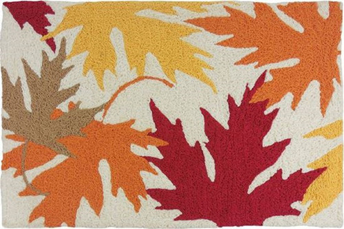 Autumnal Leaves Golden Red and Orange Accent Rug 33 X 21 Inches
