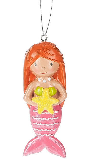 Baby Girl Mermaid with Starfish Christmas Holiday Ornament 3.25 Inches
