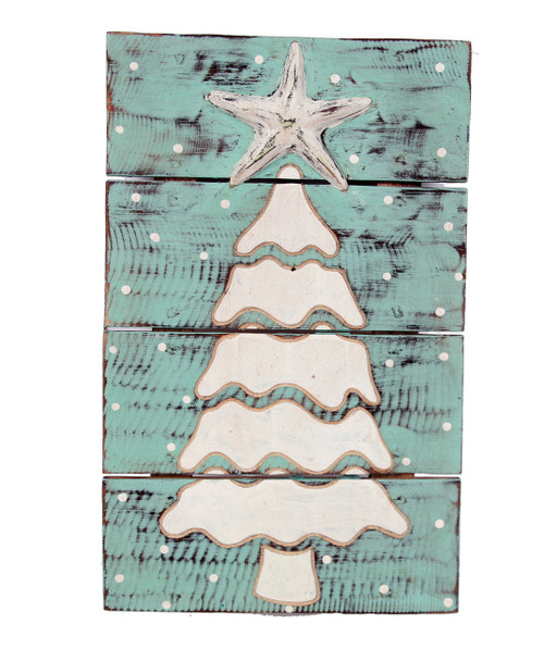 Christmas Tree and Starfish Wood Planked Wall Plaque 16 Inches