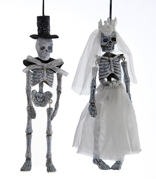 Bride and Groom Skeleton Halloween Day of the Dead Ornaments Set of 2