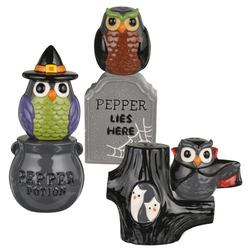 Midnight Owls in Graveyard Halloween Salt and Pepper Shakers Three Sets
