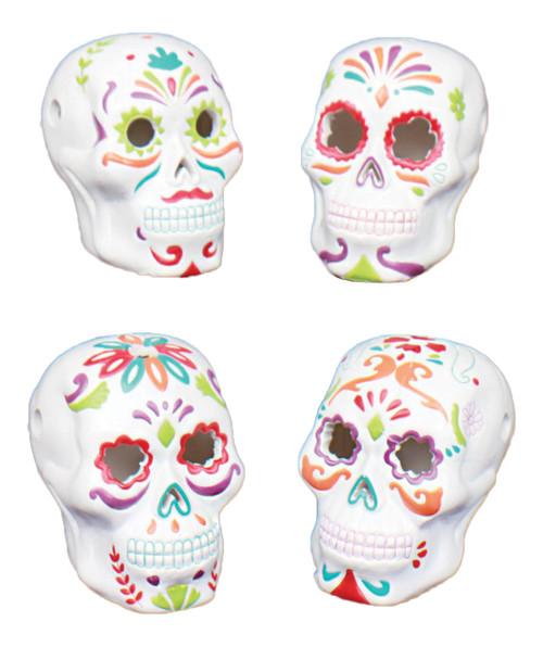 Sugar Skulls LED Lights Up Figurines Set of 4 Ceramic 3.5 Inches