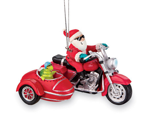 Born to Be Jolly Biker Santa and Turtle Resin Christmas Holiday Ornament