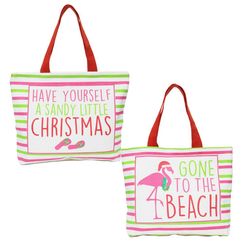 Have A Sandy Christmas and Flamingo Gone To Beach Canvas Totes 19 Inch Set of 2