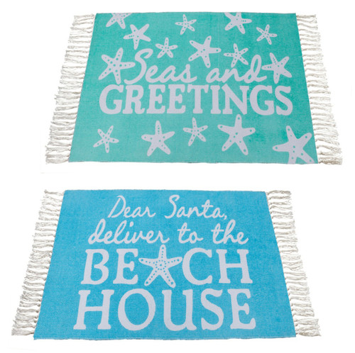 Seas And Greetings and Dear Santa Deliver to Beach House Printed Accent Rugs Set