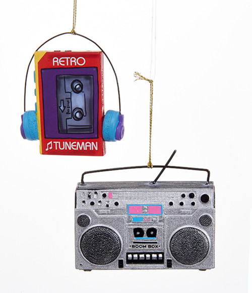 Boom Box and Tune Man Retro Look Christmas Holiday Ornaments Set of 2