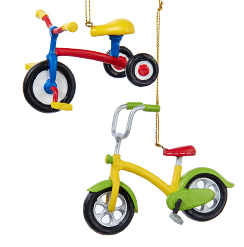 Bicycle and Tricycle Toys Christmas Holiday Ornaments Set of 2