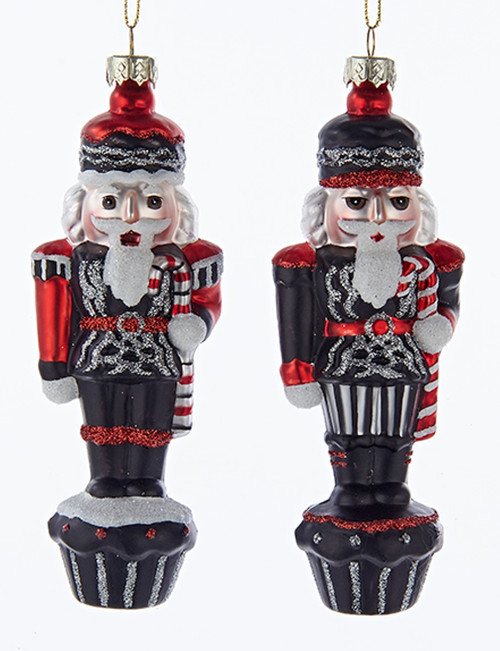 Chalkboard Black and Red Nutcrackers Christmas Holiday Ornaments Set of 2 Glass