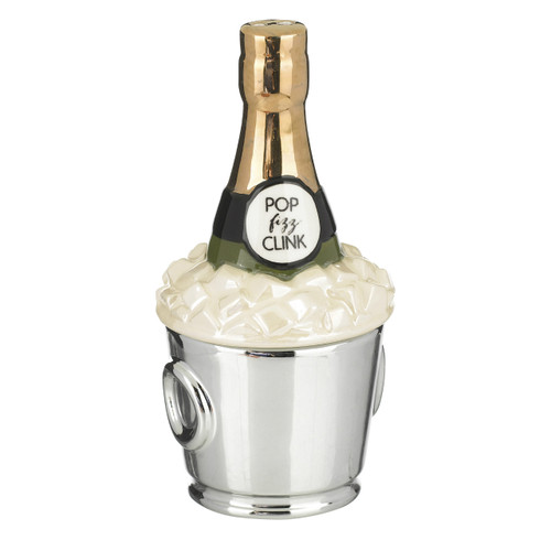 Champagne on Ice Holiday Festivity Stacking Salt and Pepper Shakers Set