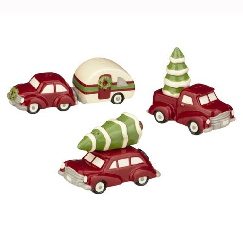 Holiday Travel Trailer and Pinewood Salt and Pepper Shakers Sets Three Pair