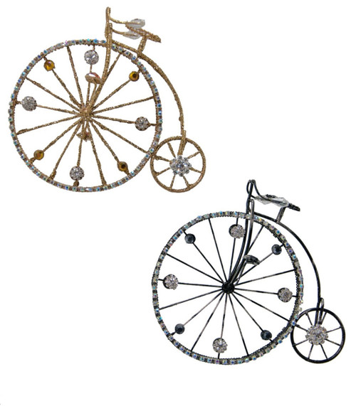 Go the Journey Vintage Look Bicycle Jeweled Christmas Holiday Ornaments Set of 2