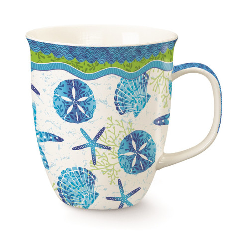 Beach Batik Blue Shells Starfish Sand Dollar Mug Porcelain 15 Ounces