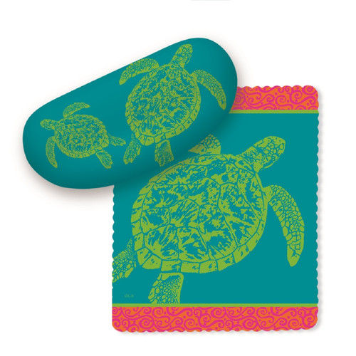 Grean Sea Turtles on Teal Blue Sunglasses Case with Microfiber Lens Cloth