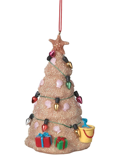 Coastal Sand Sculpture Tree with Ornaments and Decorations Christmas Ornament