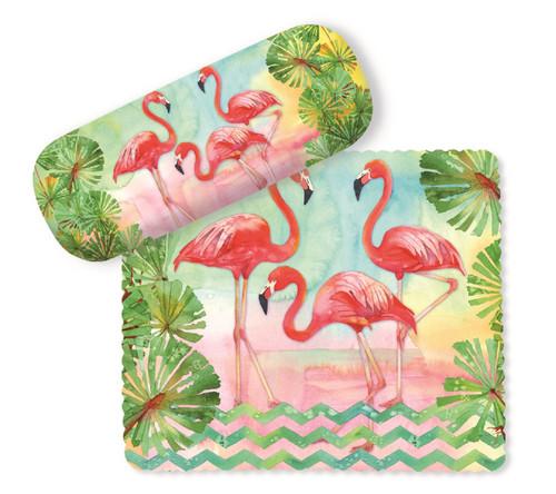 Pretty Flamingos and Palms Eyeglasses Case and Lens Cloth