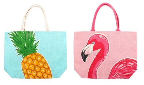 Hot Pink Flamingo and Yellow Pineapple Jute Tote Bags Set of 2