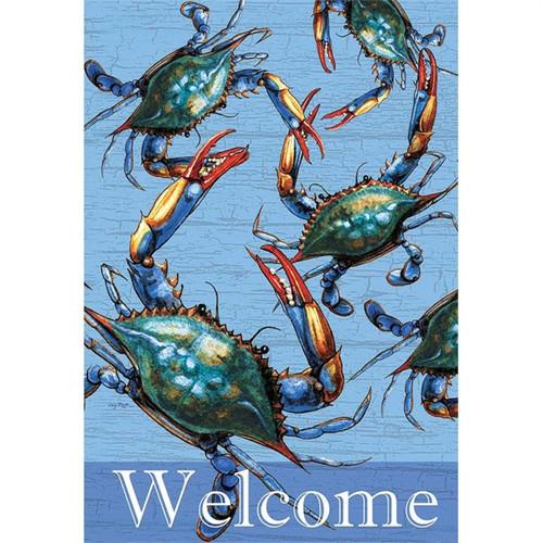 Blue Crabs Coastal Welcome Garden Flag 18 Inches